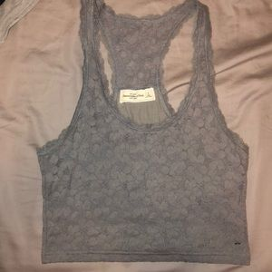 ABERCROMBIE || grey lace tank crop top